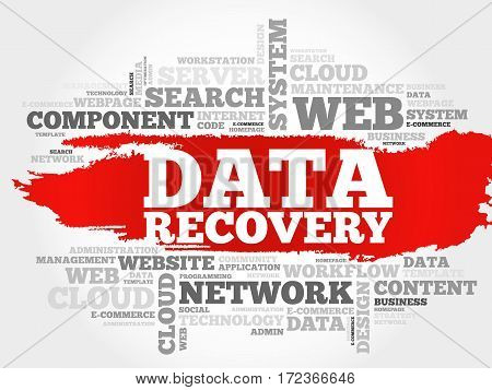 Data Recovery word cloud collage, technology business concept background