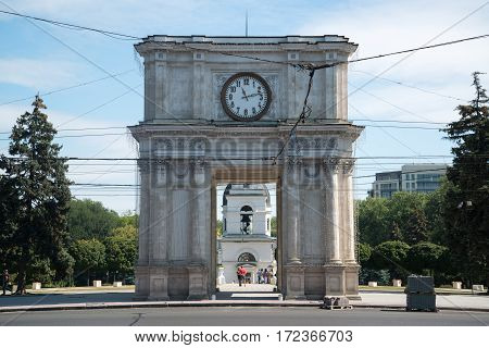 Chisinau, Moldova, circa august 2016: Triumphal arch situated on the main square in Chisinau, Moldova