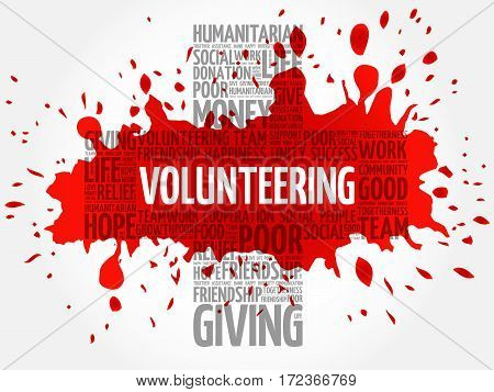 Volunteering word cloud collage, social concept background