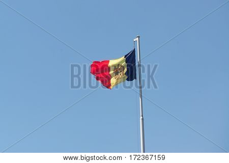 Waving flag of Moldova in capital city Chisinau
