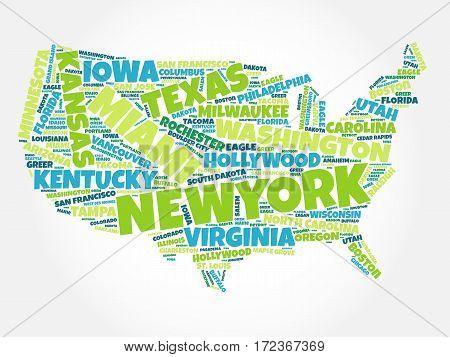 Usa Map Word Cloud