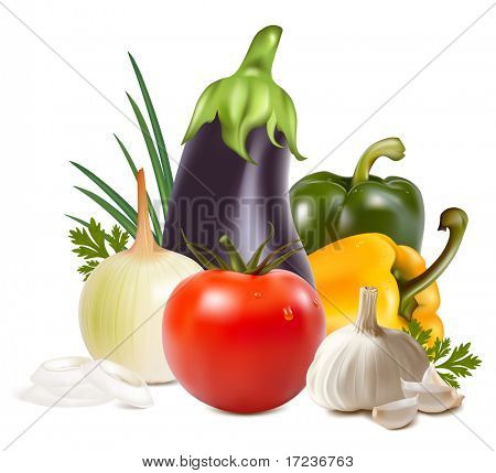 Photo-realistic vector. Colorful fresh group of vegetables.