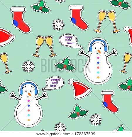 Snowman, socks, speech bubble, mistletoe, snowflakes, champagne glasses seamless pattern. Christmas elements in simple cartoon design. New Year concept. Wallpaper design endless texture. Vector