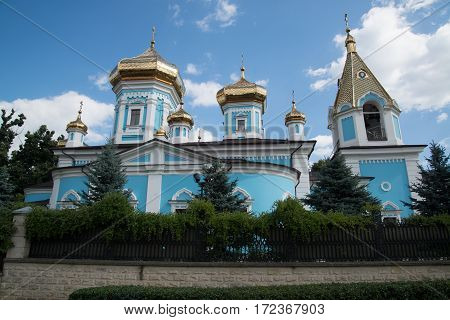Chisinau, Moldova, circa august 2016: Ciuflea Monastery, Chisinau, Republic of Moldova. Was found by two brothers in 1858, Aromanian merchants who emigrated from Macedonia to Bessarabia in 1821.