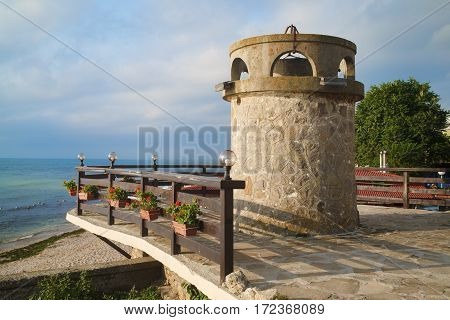 Nesebar Bulgaria - September 05 2014: Ancient lighthouse in the old town of Nessebar. Seaside resort and ancient old town Nesebar in Bulgaria. Bulgarian Black Sea Coast. UNESCO world heritage site.