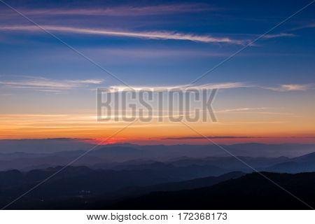 beautiful color sunset at mountain Khun Chang Khian Chiang Mai Thailand