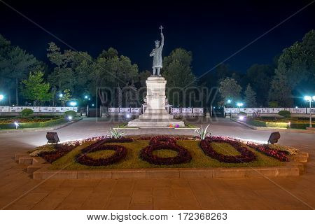 Chisinau, Moldova, circa august 2016: Stephen the Great Monument at night in Chisinau, Moldova