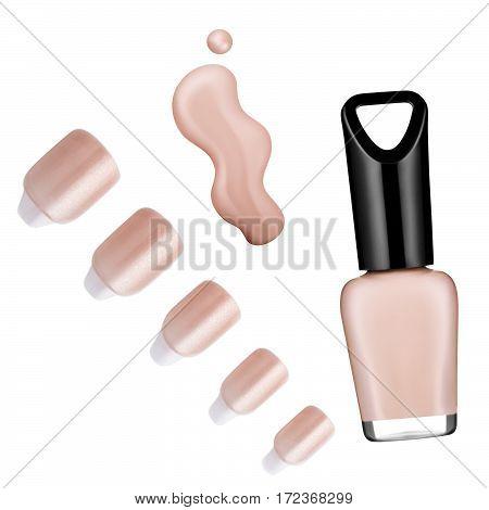 flesh color nail polish, brush, sample, isolated on white background