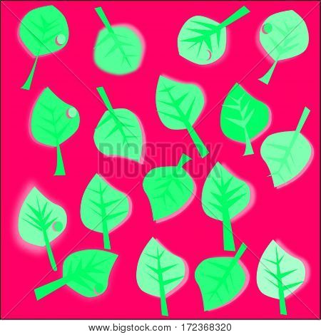 abstract pink background green leaves with pink and green streaks stroke and a drop of dew scattered around the figure