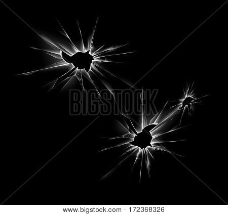 Vector Set of Transparent Shattered Crack Glass Window with Sharp Edges and Bullet holes Close up on Dark Black Background