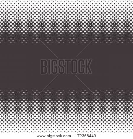 Horizontally Seamless Black and White Dotted Pattern. Gradient of stars. Halftone effect. Repeating background texture. Vector illustration