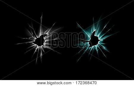 Vector Set of White Green Broken Shattered Crack Glass Window Crack with Sharp Edges Close up on Dark Black Background
