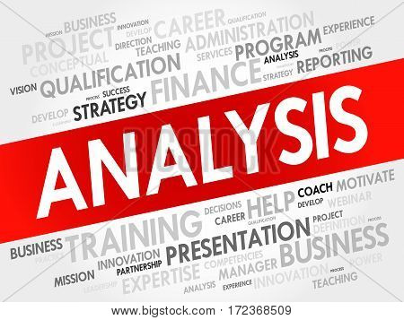 ANALYSIS word cloud collage, business concept background