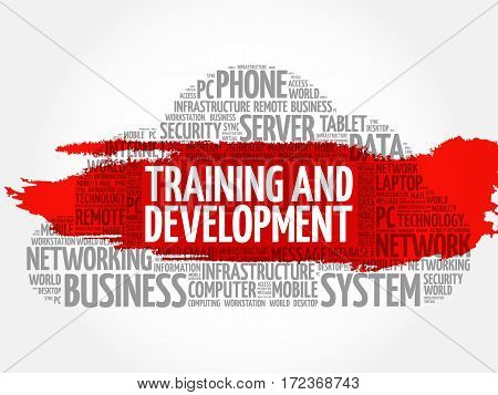 Training development word cloud collage, technology business concept background
