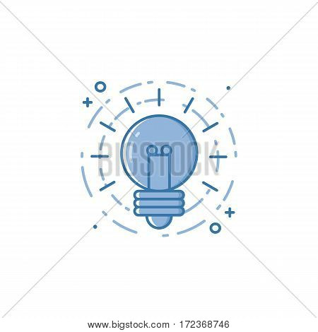 Vector business illustration of light bulb in flat linear style. Graphic design concept of creative idea. Use in Web Project and Applications. Outline stock object.