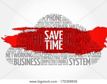 Save Time word cloud collage, technology business concept background