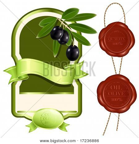 Vector illustration. Label for product. Olive oil. Sealing wax: 100% olive oil and 100 % quality