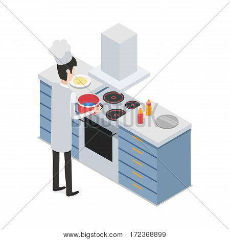 At kitchen. Male chef taking pot with water on four-burners cooker. Process of meal preparing. Sauce bottles and tray are on workplace. Isolated man wearing white uniform and hat. Flat design. Vector