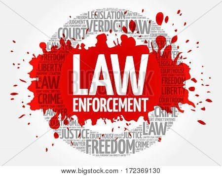 Law enforcement word cloud collage, social concept background