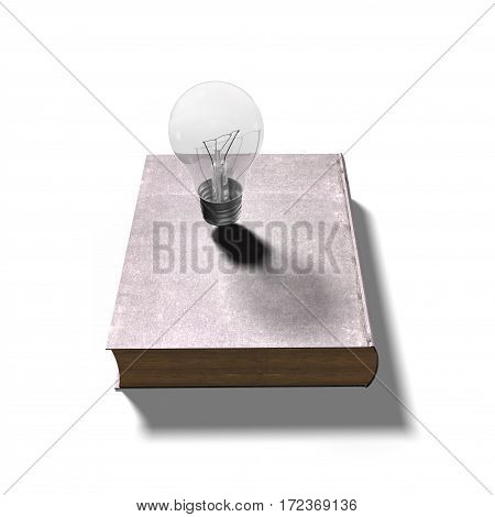 Light Bulb On Closed Old Book, 3D Illustration