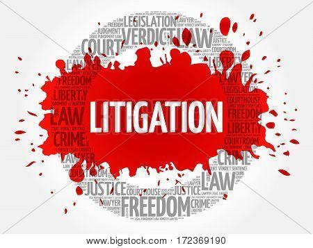 Litigation word cloud collage, social concept background