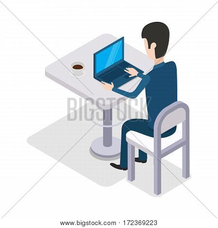 Man work with computer design flat. Cup of coffee on the table. Computer and business man worker, man at office desk, businessman person, table workplace, job man, character man work manager. Vector