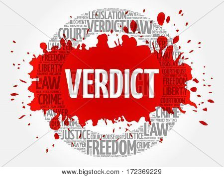 Verdict word cloud collage, social concept background