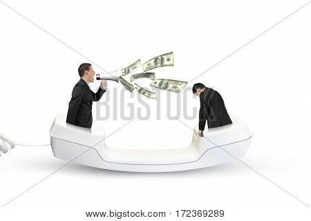 Boss Using Megaphone Yelling At Employee Spraying Out Dollar Bills
