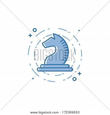Vector business illustration of blue chess Knight or horse icon in linear style. Graphic design concept of marketing strategy Outline object. Use in Web Project and Applications. Stock object.