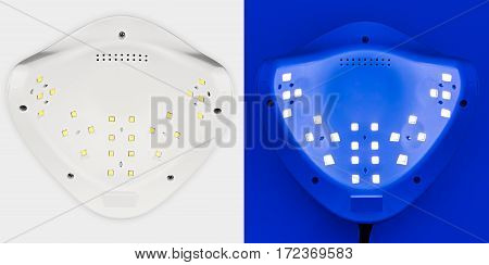 UV lamp for attaching plastic nails with gel method, LED Nail, on a white background