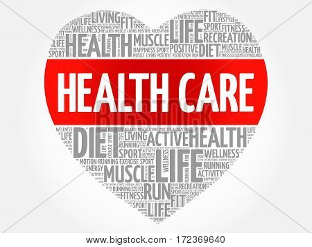 HEALTH CARE heart word cloud fitness sport health concept