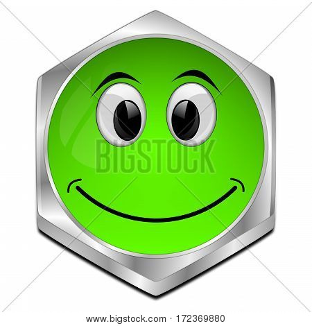 glossy green Button with smiling face - 3D illustration