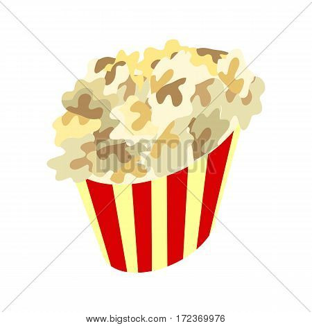 Popcorn box vector icon. Popcorn in flat style design. Traditional salty, sweet snack. Popcorn street food illustration. Red box popcorn opened. Popcorn logo, cinema, box, popcorn pack. Vector