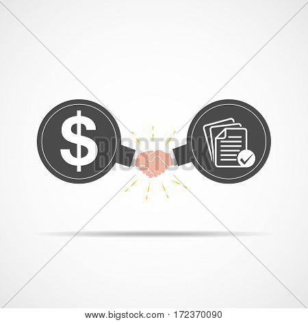 Symbol of handshake between dollar signs and business documents. Vector illustration. The concept of a contract or agreement.