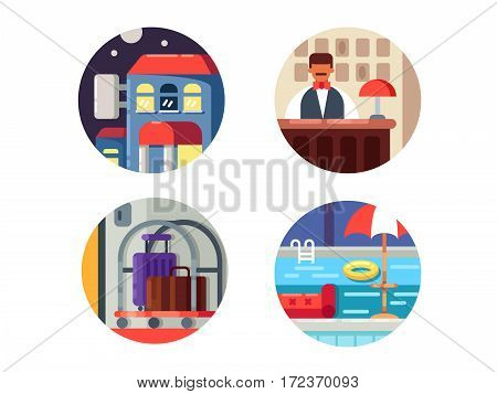 Hotel service icons. Reception hall and swimming pool. Vector illustration. Pixel perfect icons size - 128 px