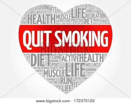 Quit Smoking Heart Word Cloud