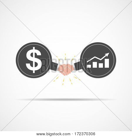 Symbol of handshake between dollar signs and bar graph. Vector illustration. The concept of a contract or agreement.