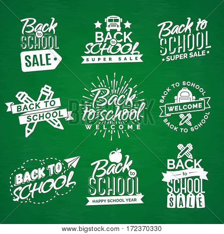 Set of Welcome back to school label with sunburst, ribbon, apple, school bag, pen, pencil and paper airplane isolated on green background. Back to school shopping. Super sale. Vector illustration.