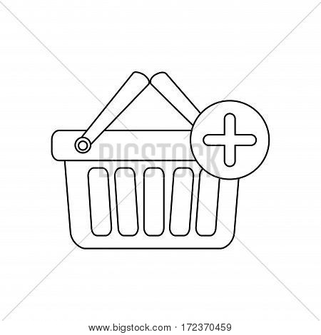 monochrome contour with shopping basket with two handle and plus sign vector illustration