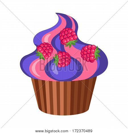 Sweets. Round fruit cupcake with four raspberries on top of it. Violet-pink high muffin in brown stripped form for baking in simple cartoon style. Side view of colourful bun. Flat design. Vector