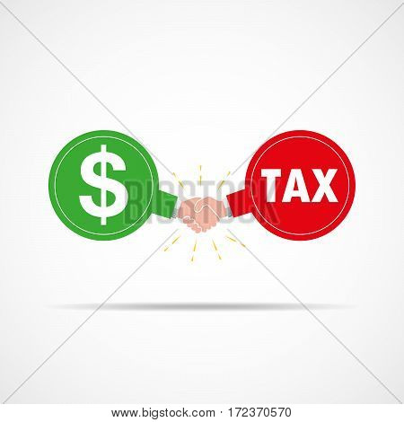 Symbol of handshake between dollar signs and tax. Vector illustration. The concept of a contract or agreement.