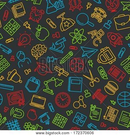 Pattern of welcome back to school with modern thin line icons school supplies on black background. Back To School Background. Back to school super shopping. Super sale. Vector illustration.