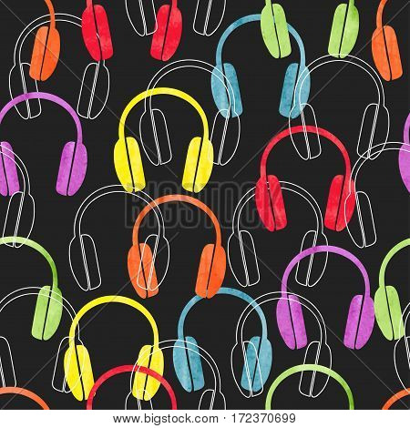 Colorful headphones on black seamless pattern. Vector music background with earphones.
