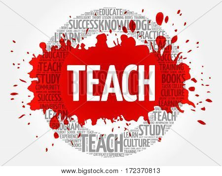 TEACH word cloud collage, education concept background