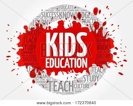 Kids Education word cloud collage, education concept background