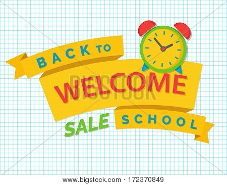 Wellcome back to school concept with ribbon on checkered background. Back to school shopping. Super sale. Vector illustration.