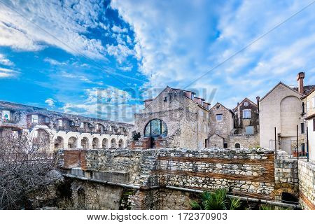 Scenic view at Diocletian Palace walls, old ruins at city Split, famous touristic attraction in Croatia, Europe.