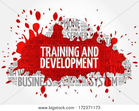 Training and Development word cloud collage, technology business concept background