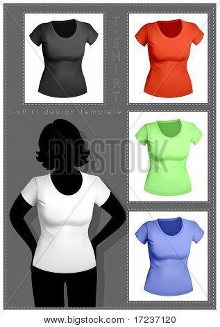 Damen T-shirt-Vorlage mit menschlichen Körper-Silhouette. Weiß, schwarz und Farbe.