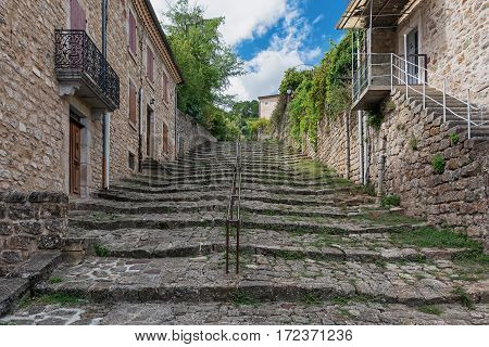 Old staircase in the town of Largentiere in the Ardeche region of France
